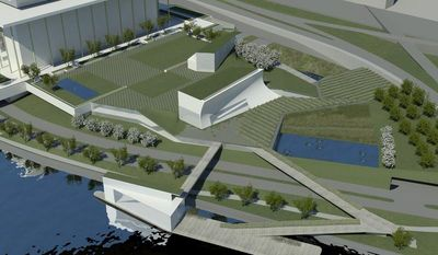 Architect Steven Holl's design concepts for the first major expansion of the Kennedy Center will include rehearsal halls and classrooms, a memorial garden and a stage floating on the Potomac River's edge for outdoor performances, as seen in this artist's depiction. (AP Photo/Kennedy Center, Steven Holl Architects)