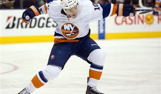 """Keith Aucoin on being claimed off waivers by the New York Islanders: """"I was excited. I knew I was going to get an opportunity."""" (Associated Press)"""