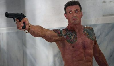 """Sylvester Stallone, as muscle-bound hit man Jimmy Bonomo in """"Bullet to the Head,"""" is a walking advertisement for human growth hormone for building body mass. (Warner Bros. Pictures)"""