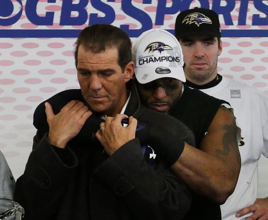 associated press Ravens owner Stephen J. Bisciotti is hugged by Ray Lewis after Baltimore defeated New England on Jan. 21 to win the AFC title and secure a berth in Super Bowl XLVII.