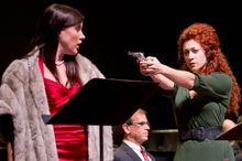 "Julia Mintzer (right), at the Washington National Opera with Shantelle Przybylo and James Shaffran, says, ""People may not be able to control the coughing, but they can turn off their cellphones."" (American Opera Initiative)"