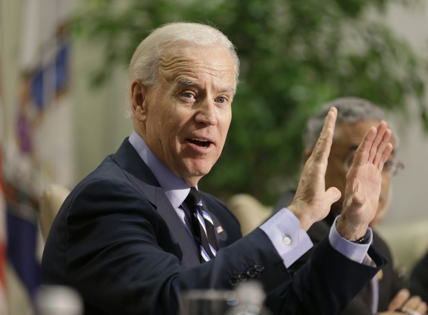 ** FILE ** Vice President Joseph R. Biden speaks Jan. 25, 2013, during a roundtable discussion on gun violence at Virginia Commonwealth University in Richmond, Va. (Associated Press)