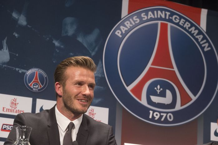 British soccer player David Backham, speaks during a press conference, in at the Parc des Princes stadium in Paris, Thursday, Jan. 31, 2013. David Beckham will join Paris Saint-Germain on Thursday, opting for a move to France after mulling over lucrative offers from around the world since leaving the Los Angeles Galaxy.(AP Photo/Michel Euler)