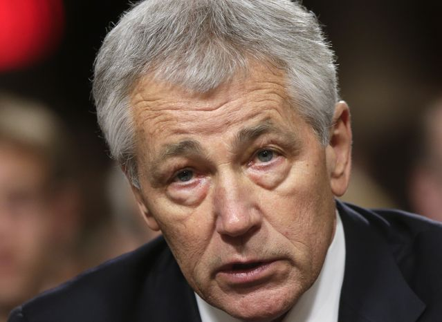 **FILE** Republican Chuck Hagel, President Obama's choice for defense secretary, testifies Jan. 31, 2013, before the Senate Armed Services Committee during his confirmation hearing on Capitol Hill. (Associated Press)