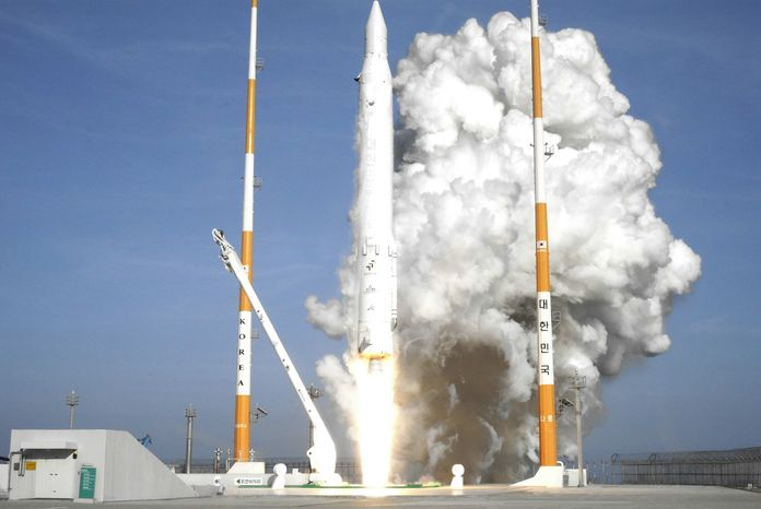 In this photo released by Korea Aerospace Research Institute, South Korea's rocket lifts off from its launch pad at the Naro Space Center in Goheung, South Korea, Wednesday, Jan. 30, 2013. South Korea says it has successfully launched a satellite into orbit from its own soil for the first time. (AP Photo/Korea Aerospace Research Institute)