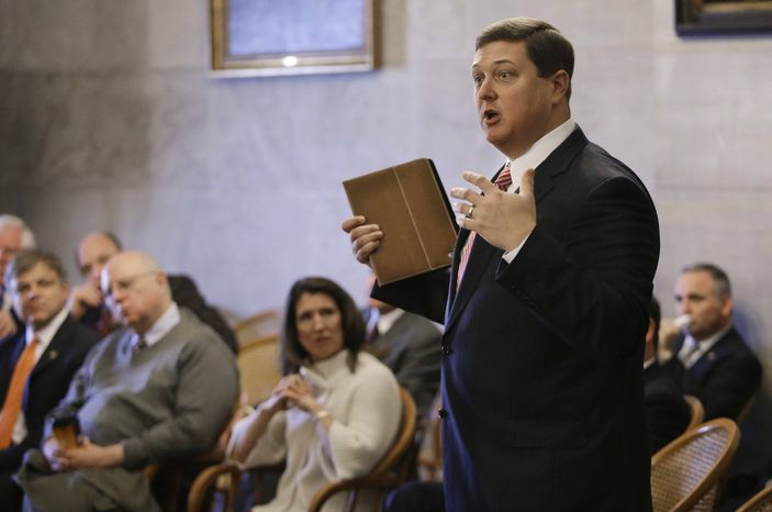 Rep. Vance Dennis, R-Savannah, speaks out against Speaker Beth Harwell's proposal to limit each lawmaker to introducing ten bills per year during a House Republican caucus meeting on the opening day of the 108th General Assembly on Tuesday, Jan. 8, 2013, in Nashville, Tenn. (AP Photo/Mark Humphrey)
