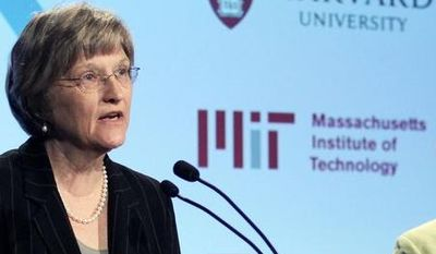 **File** Harvard President Drew Faust (left) and Massachusetts Institute of Technology President Susan Hockfield speak at a news conference in Cambridge, Mass, May, 2012. (Associated Press)