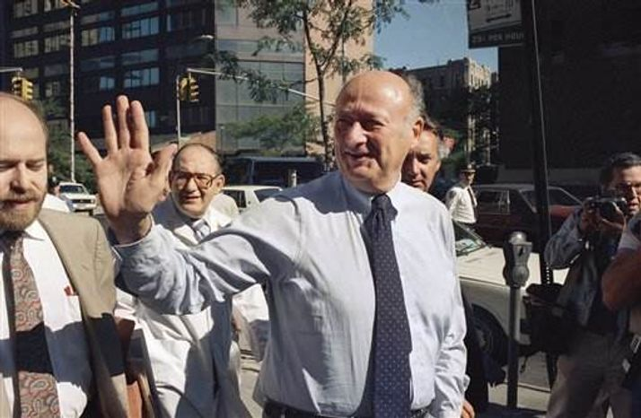 In this Aug. 13, 1987 file photo, New York Mayor Edward I. Koch waves to onlookers as he arrives at New York's Columbia Presbyterian Hospital Neurological Center. Koch died Friday, Feb. 1, 2013 from congestive heart failure, spokesman George Arzt said. H