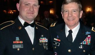 Army veteran Nate Haddad (left), an employee at Fort Drum's Network Enterprise Center, appeared in uniform as an honored guest Feb. 28, 2012 in Philadelphia with Lt. Gen. William Troy, director of Army Staff at the Pentagon. (Courtesy photo)