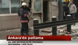 In this image made from video, emergency personnel are seen in front of a side entrance to the U.S. Embassy following a blast, Ankara, Turkey, Friday, Feb. 1, 2013. Turkish news reports say an explosion in front of the U.S. Embassy in the Turkish capital Ankara has injured several people. (AP Photo/NTV)
