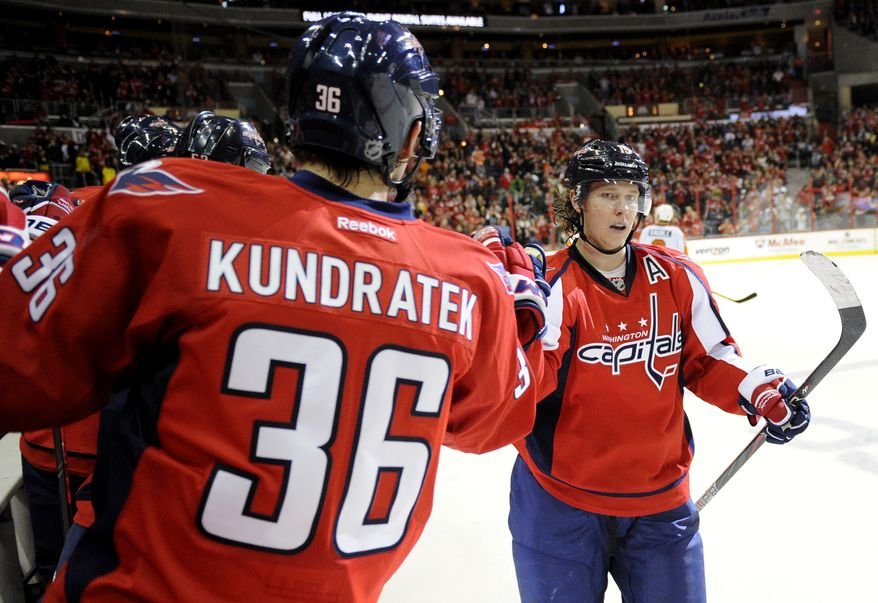 Washington Capitals center Nicklas Backstrom (19), of Sweden, celebrates his goal with teammate Tomas Kundratek (36), of the Czech Republic, during the second period of an NHL hockey game against the Philadelphia Flyers, Friday, Feb. 1, 2013, in Washington. (AP Photo/Nick Wass)
