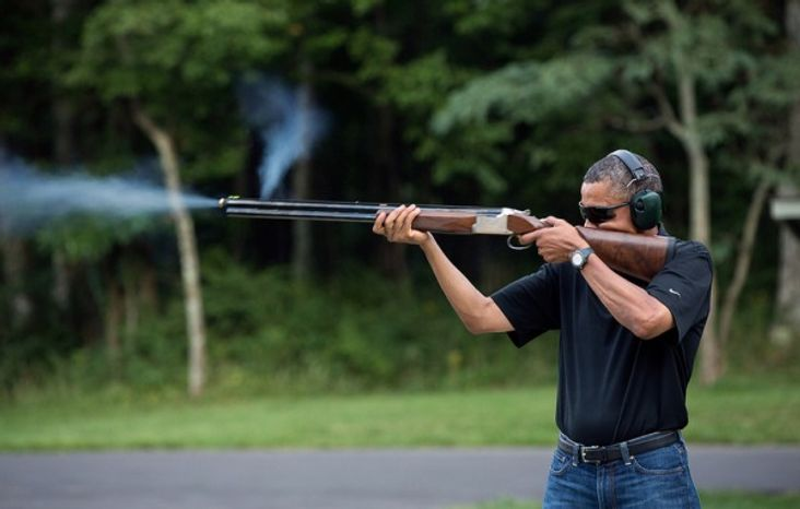 President Obama engages in target practice in a shot dated Aug. 4, 2012. (White House)