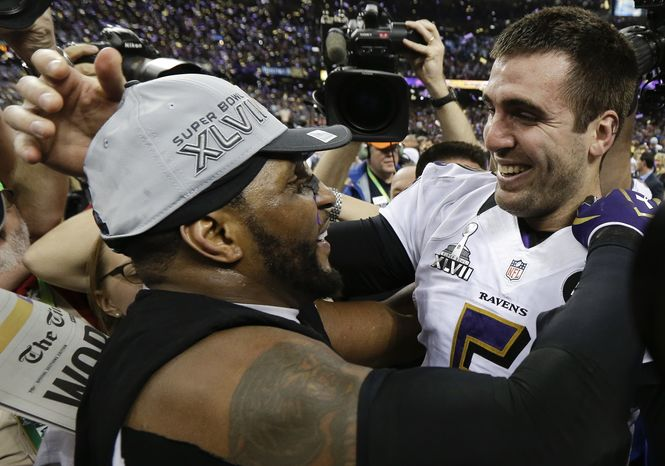Baltimore Ravens linebacker Ray Lewis, left, and quarterback Joe Flacco celebrate their 34-31 win against the San Francisco 49ers in the NFL Super Bowl XLVII fo