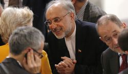 Iranian Foreign Minister Ali Akbar Salehi (center) arrives for the 49th Munich Security Conference on Sunday, Feb. 3, 2013, in Munich. (AP Photo/Matthias Schrader)