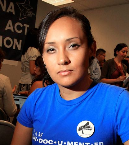 Erika Andiola (seen here) and Jose M. Quintero have been approved under a Homeland Security program known as Deferred Action for Childhood Arrivals and have been hired to work in district offices for members of Congress. (Associated Press)