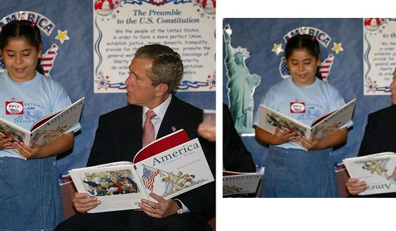 "President Bush listens to Nancy Jara read during a visit to the Association for the Advancement of Mexican Americans Headquarters Summer Reading Camp Friday, June 14, 2002, in Houston . The President during his visit said the terrorists who conducted the car bombing at the U.S. consulate in Karachi Pakistan "" are radical killers"" with no regard for human life. (AP Photo/Rick Bowmer)