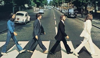 "Abbey Road album cover. Controversy: ""Paul is dead†conspiracy theorists maintain that the Paul McCartney in the photo is actually an impostor — perhaps a McCartney lookalike named William Shears — and that the album cover is full of hidden clues and morbid symbolism, including the left-handed Mr. McCartney holding a cigarette in his right hand and being out of step with his bandmates.
