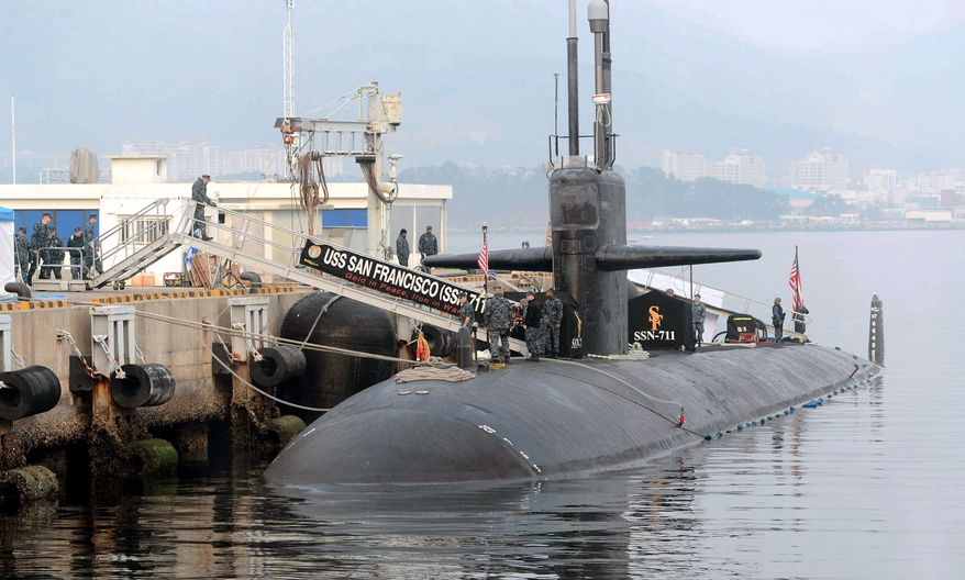 In this Friday, Feb. 1, 2013, photo, the USS San Francisco, a U.S. nuclear-powered submarine, is docked before South Korea and U.S. joint military exercises, at Jinhae naval base, South Korea. South Korean and U.S. troops began naval drills Monday, Feb. 4, 2013, in a show of force partly directed at North Korea amid signs that Pyongyang will soon carry out a threat to conduct its third atomic test. (AP Photo/Yonhap)