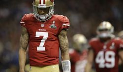 San Francisco 49ers quarterback Colin Kaepernick (7) reacts after throwing an incomplete pass during the second half of the NFL Super Bowl XLVII football game against the Baltimore Ravens, Sunday, Feb. 3, 2013, in New Orleans. The Ravens won 34-31. (AP Photo/Evan Vucci)