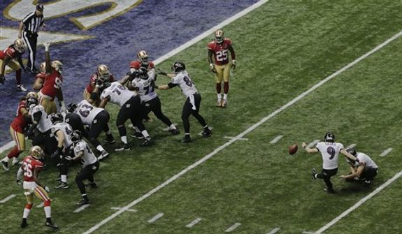 Baltimore Ravens kicker Justin Tucker (9)  makes a 19-yard field goal against the San Francisco 49ers during the second half of the NFL Super Bowl XLVII football game, Sunday, Feb. 3, 2013, in New Orleans. (AP Photo/Charlie Riedel)