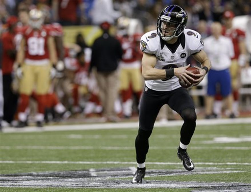 Baltimore Ravens kicker Justin Tucker fakes a field goal against the San Francisco 49ers during the first half of the NFL Super Bowl XLVII football game Sunday, Feb. 3, 2013, in New Orleans. (AP Photo/Patrick Semansky)