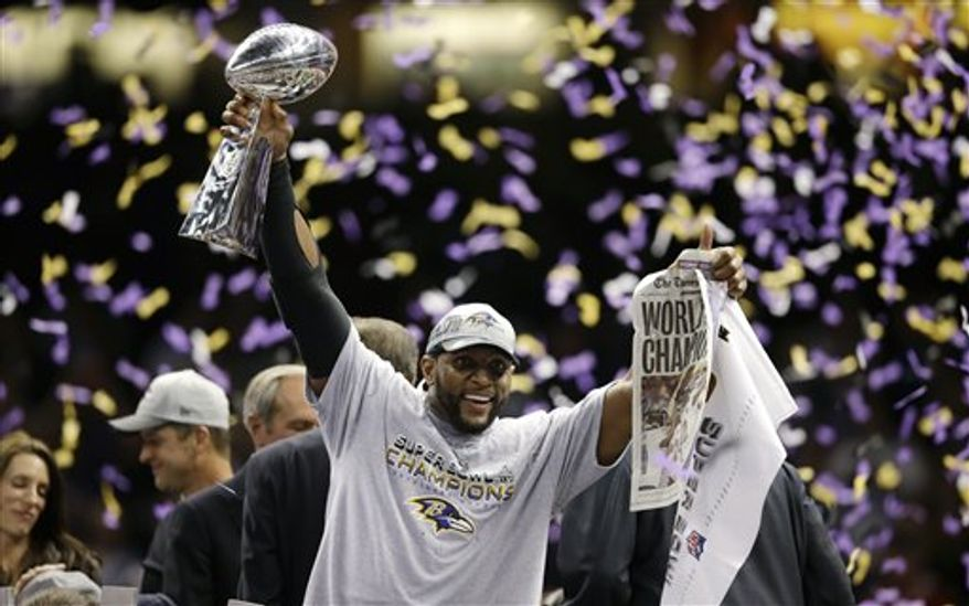 Baltimore Ravens linebacker Ray Lewis (52) celebrates after defeating the San Francisco 49ers 34-31 in the NFL Super Bowl XLVII football game Sunday, Feb. 3, 2013, in New Orleans. (AP Photo/Evan Vucci)