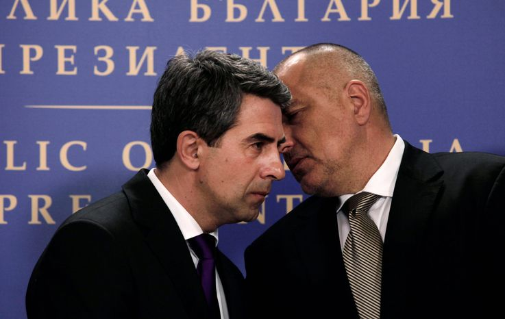 Bulgarian President Rossen Plevneliev (left) and Prime Minister Boyko Boriossov were at Tuesday's briefing when investigators said Hezbollah planned the attack. (Associated Press)
