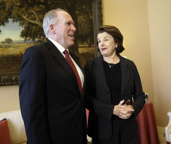 ** FILE ** Sen. Dianne Feinstein (right), California Democrat and chairman of the Senate Intelligence Committee, meets with CIA Director-nominee John Brennan (left), currently assistant to the president for homeland security and counterterrorism, on Capitol Hill in Washington on Thursday, Jan. 31, 2013. (AP Photo/Pablo Martinez Mons