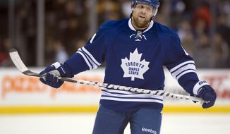 Toronto Maple Leafs right winger Phil Kessel reacts against the Boston Bruins in the third period of an NHL hockey game in Toronto on Saturday, Feb. 2, 2013. (AP Photo/The Canadian Press, Frank Gunn)