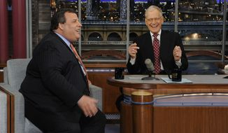 "** FILE ** New Jersey Gov. Chris Christie (left) and late-night host David Letterman react with laughter during the governor's first visit to ""Late Show With David Letterman"" on Monday, Feb. 4, 2013. (AP Photo/CBS Broadcasting, Jeffrey Neira)"