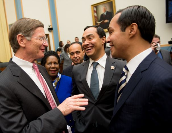 Reps. Lamar Smith (from left), Sheila Jackson Lee and Luis V. Gutierrez greet Rep. Joaquin Castro (second from right) and his twin brother, San Antonio Mayor Julian Castro, who arrives to testify at a hearing on immigration before the House Judiciary Committee in the Rayburn House Office Building in Washington on Tuesday, Feb. 5, 2013. The hearing is the first on immigration for either chamber in the 113th Congress. (Andrew Harnik/The Washington Times)