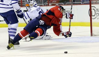 Washington Capitals left wing Alex Ovechkin (8) falls to the ice as the puck goes past in the first period of an NHL hockey game against the Toronto Maple Leafs on Tuesday, Feb. 5, 2013, in Washington. (AP Photo/Alex Brandon)