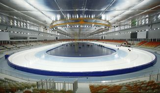 In this photo dated Wednesday, Jan. 30, 2013, The inside view of the Adler-arena speed skating venue at the Russian Black Sea resort of Sochi, with just one year till the opening ceremony of the winter Olympic 2014 Sochi Games. The Black Sea resort of Sochi is a vast construction site sprawling for nearly 40 kilometers (25 miles) along the coast and 50 kilometers (30 miles) up into the mountains, with no escape from the clang and clatter of the construction works, the drilling, jack-hammering and mixing of cement. (AP Photo/Igor Yakunin)