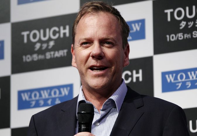 "Actor Kiefer Sutherland speaks about his TV drama ""Touch"" during a press conference in Tokyo on Monday, Sept. 3, 2012."