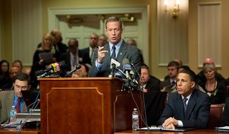 Maryland Governor Martin O'Malley testifies at a Judicial Proceedings Committee hearing to urge state lawmakers to pass legislation requiring residents to obtain a license before purchasing a handgun, ban assault weapons, limit magazine capacities to 10 rounds and require prospective gun buyers to complete a safety course and pay a $100 application fee, Annapolis, Md., Wednesday, February 6, 2013. (Andrew Harnik/The Washington Times)