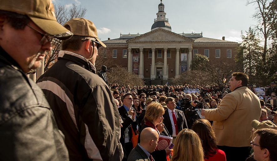 Del. Michael Smigiel (R-District 36) speaks at a pro-gun rights rally at Lawyers Park in front of the Maryland State House, Annapolis, Md., Wednesday, February 6, 2013. Maryland Gov. Martin O'Malley is set to testify at a Judicial Proceedings Committee hearing that are discussing a number of proposed gun bills. (Andrew Harnik/The Washington Times)