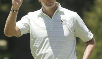 **FILE** Retief Goosen, of South Africa, reacts after making a birdie on the sixth hole during the third round of the U.S. Open Championship golf tournament Saturday, June 16, 2012, at The Olympic Club in San Francisco. (AP Photo/Charlie Riedel)