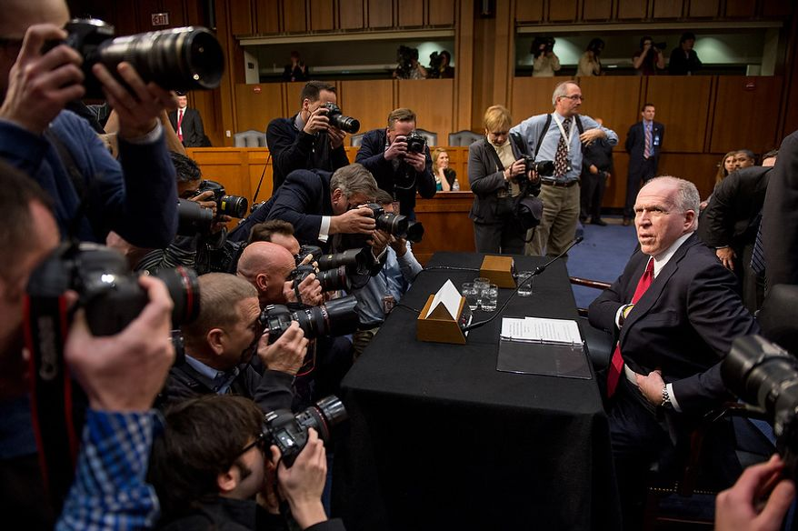 John O. Brennan arrives to testify before the Senate Select Committee on Intelligence at a hearing on Capitol Hill in Washington on Thursday, Feb. 7, 2013, on his nomination to head the Central Intelligence Agency. (Andrew Harnik/The Washington Times)