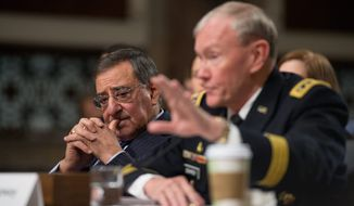 Secretary of Defense Leon E. Panetta (left) and Chairman of the Joint Chiefs of Staff General Martin E. Dempsey (right) testify Feb. 7, 2013, on Capitol Hill before the United States Committee on Armed Services to answer questions on the Department of Defense response to the attack on U.S. facilities in Benghazi, Libya. (Andrew Harnik/The Washington Times)
