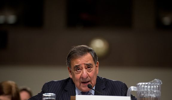 Secretary of Defense Leon E. Panetta testifies before the Senate Armed Services Committee on Capitol Hill in Washington on Thursday, Feb. 7, 2013, on the Defense Department's response to the attack on U.S. facilities in Benghazi, Libya. (Andrew Harnik/The Washington Times)
