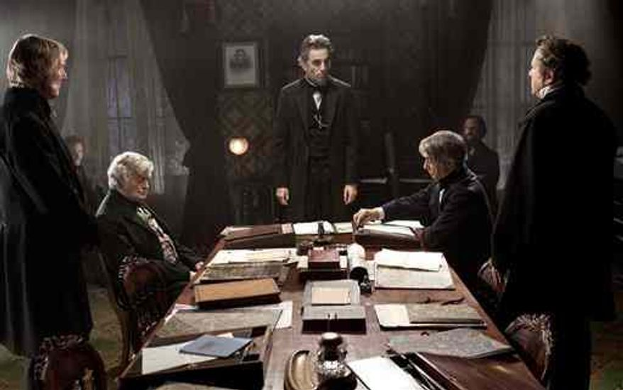 "Daniel Day-Lewis, center rear, plays Abraham Lincoln, in a scene from the film, ""Lincoln.""  U.S. Rep. Joe Courtney, a Connecticut Democrat who saw a flaw in the movie, says he is pleased the screenwriter has conceded an inaccuracy in its portrayal of an 1865 vote on slavery. (AP Photo/DreamWorks, Twentieth Century Fox, David James, File)"