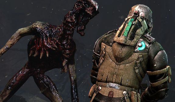 A close encounter with a Necromorph in the video game Dead Space 3.