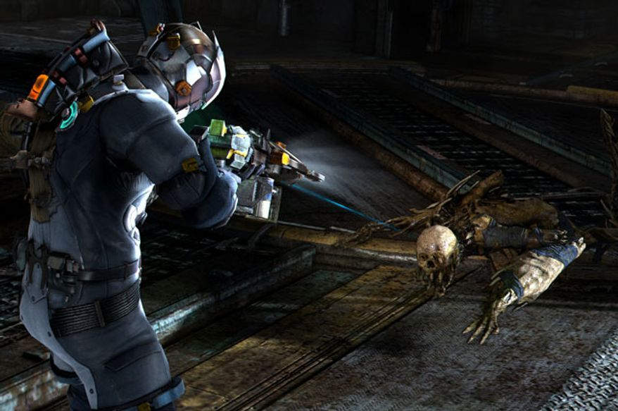 A Necromorph attacks in the video game Dead Space 3.