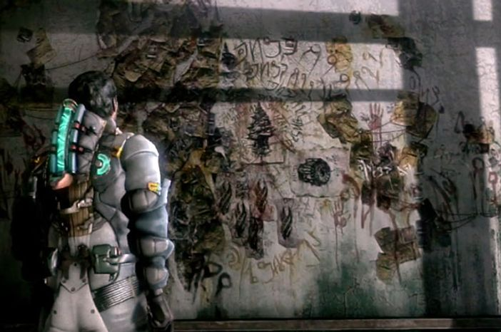 Engineer Isaac Clarke deciphers the riddles of an ancient species in the video game Dead Space 3.