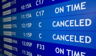 Two flights to Boston are listed as canceled at Philadelphia International Airport, Friday, Feb. 8, 2013, in Philadelphia. Airlines have already canceled more than 2,700 Friday flights as they get ready for a storm that threatens to dump up to 3 feet of snow from New York City to Boston. Flight-tracking website FlightAware shows 728 cancellations at the three big airports in the New York area. Another 191 flights to or from Boston have been scrubbed, and 137 in Toronto. (AP Photo/Matt Rourke)