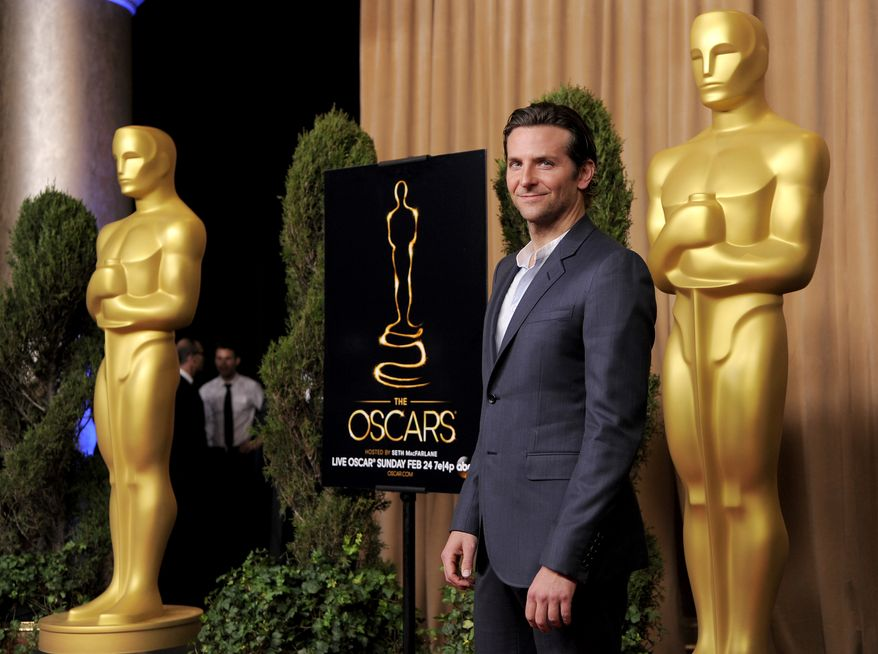 "Bradley Cooper, nominated for best actor in a leading role for ""Silver Linings Playbook,"" arrives at the 85th Academy Awards nominees luncheon at the Beverly Hilton Hotel on Monday, Feb. 4, 2013, in Beverly Hills, Calif. (Chris Pizzello/Invision/AP)"