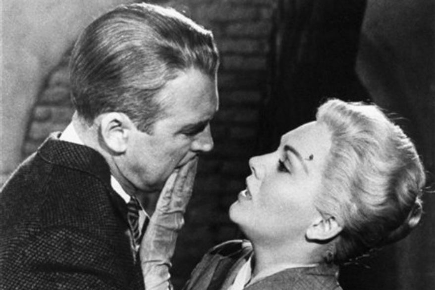 "Jimmy Stewart, left, and Kim Novak, in a scene from Alfred Hitchcock's 1958 film, ""Vertigo."" (Associated Press/Paramount Pictures)"