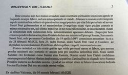 Pope Benedict XVI delivered the announcement of his resignation from the papacy in Latin. (AP Photo/Gregorio Borgia)