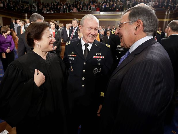 From left, Supreme Court Justice Elena Kagan, Joint Chiefs Chairman Gen. Martin Dempsey and outgoing Defense Secretary Leon Panetta talk prior to President Barack Obama's State of the Union address during a joint session of Congress on Capitol Hill in Washington, Tuesday Feb. 12, 2013. (AP Photo/Charles Dharapak, Pool)