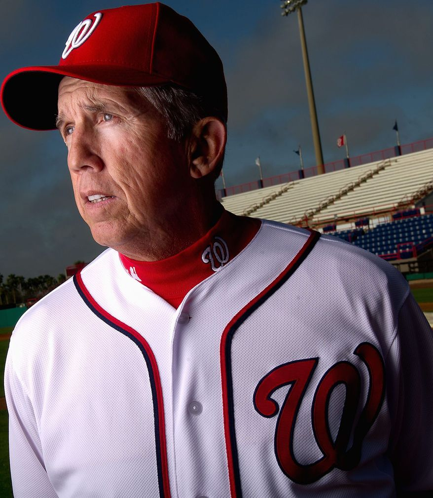 Davey Johnson held court Wednesday in Viera, Fla., talking about everything from email spam to safaris to what the Nationals are capable of. (Andrew Harnik/The Washington Times)
